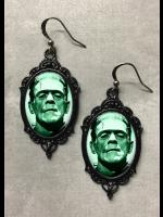 Glass Cameo Gothic Steampunk Frankenstein Earrings