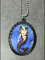 Pin Up Cameo Necklace - Green Haired Mermaid