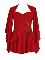 Red Gothic Top with Side Corset Lacing