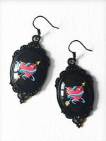 Glass Cameo Gothic Rockabilly Earrings - Red Heart Tattoo
