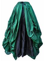 Green and Black Gothic Fairytale Silk Skirt