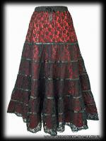 Red Satin & Black Lace Tiered Gothic Skirt