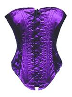 Purple Satin & Black Lace Gothic Corset Basque - Phaze