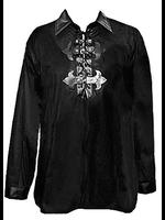 Men's Black Gothic Shirt with PVC Detail