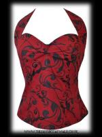 Black and Red Halter Neck Top