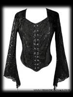 Black Velvet Gothic Bodice Top with Lace Sleeves