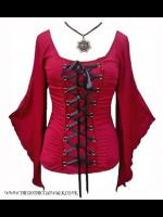 Plus Size Gothic Medieval Red Corset Bodice Top