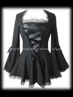 Plus Size Long Flared Black Gothic Bodice Top