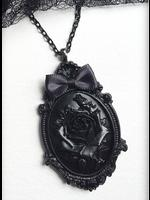 Large Gothic Victorian Cameo Necklace - Black Rose on Black