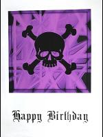 Gothic Punk Birthday Card - Black Skull on Purple