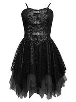 Black Lace Gothic Corset Dress with Buckles