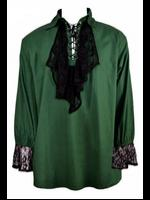 Men's Green Gothic Poet's Shirt with Ruffle