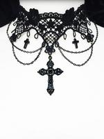 Gothic Victorian Choker - Black Lace with Crosses