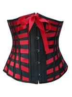 Black & Red Ribbon Striped Underbust Corset