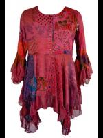 Hippy Goth Boho Red Patchwork Tunic Top