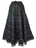 Long Black Satin & Lace Tiered Gothic Skirt