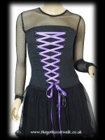 Hell Bunny Black Strapless Bodice Top - Purple Ribbon