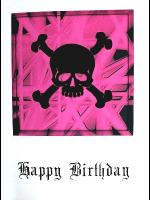 Gothic Punk Birthday Card - Black Skull on Pink