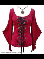 Red Gothic Medieval Wench Corset Style Bodice Top