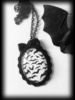 Tiny Bats Glass Cameo Gothic Necklace