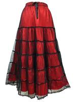 Long Red Satin & Net Tiered Gothic Skirt