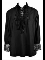Men's Black Gothic Poet's Shirt with Ruffle