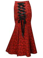 Plus Size Long Red Damask Fishtail Gothic Corset Skirt