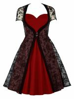 Two Piece Black and Red Gothic Dress with Flocked Velvet Overdre