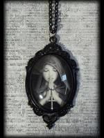 Large Gothic Glass Cameo Necklace - Gothic Prayer