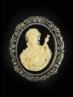 Gothic Victorian Cameo Brooch - Lady with Lute