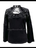 Sexy Black Gothic Top with Corset Neckline