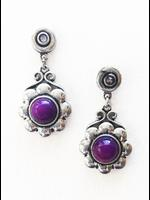 Silver Flower Victorian Earrings with Purple Stone