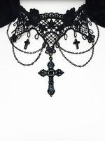 Black Lace and Crosses Gothic Victorian Choker