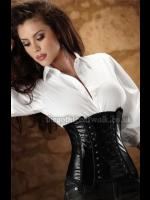 Sexy Leather-Look PVC Underbust Corset