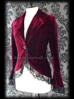 Burgundy Red Velvet Gothic Victorian Fitted Corset Jacket