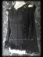 Gothic Punk Two-in-One Black Lace & Cotton Top