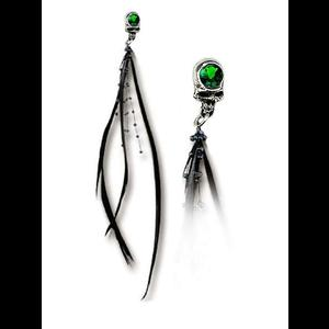 Ravenskull Long Feathered Stud Earring by Alchemy Gothic