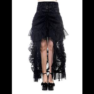 Long Black Lace Gothic Victorian Bustle Skirt by Banned