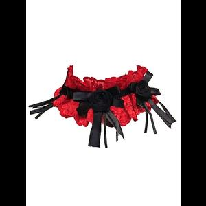 Red Lace & Black Roses Gothic Choker