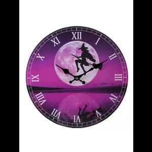 Purple Gothic Witch Wall Clock