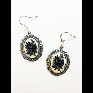 Black Rose Gothic Victorian Cameo Earrings