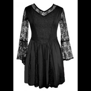Short Black Tunic Dress with Lace Sleeves