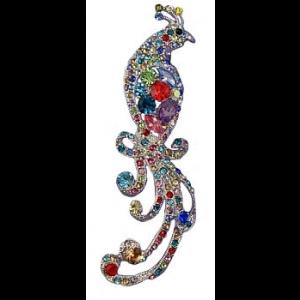 Victorian Style Peacock Crystal Brooch