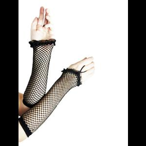 Gothic Fishnet Gloves with Frill