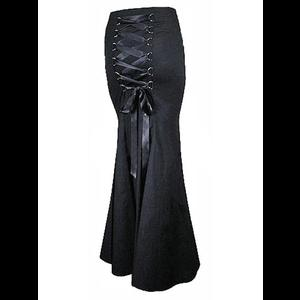 Long Black Fishtail Gothic Corset Skirt
