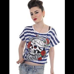 Banned Blue & White Striped Tattoo T-Shirt