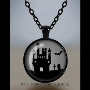 Haunted House Glass Cameo Gothic Necklace