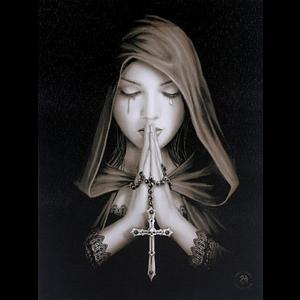 Gothic Prayer Canvas Wall Plaque by Anne Stokes