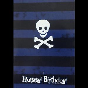 Gothic Punk Birthday Card - Blue Stripes with Skull