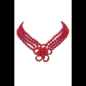 Gothic Victorian Red Beaded Flower Choker Necklace